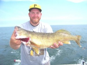 another trophy walleye caught on bring it on lake erie fishing charter in geneva ohio lake erie